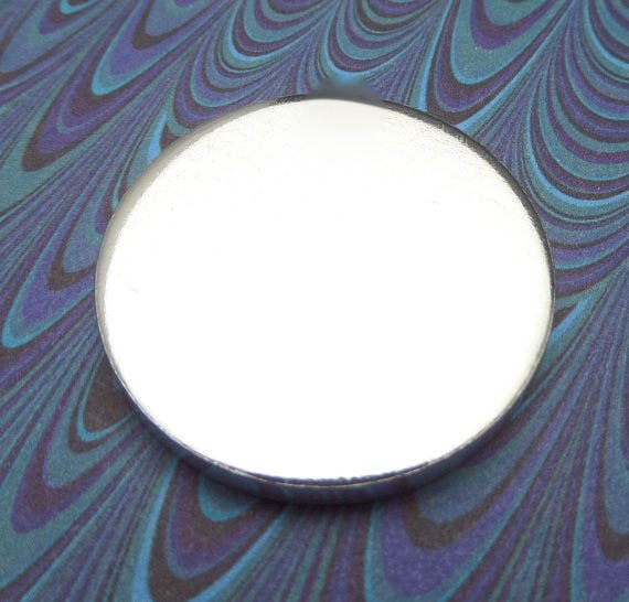 "5 Polished 1.25 Inch Discs 8 Gauge Pure Food Safe Metal Almost 1/4"" Thick - 5 Discs"