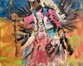 OR RESERVE 4 SC / Southwest Art original painting, Pow Wow Indian Dancer, Native American dancer, Russ Potak
