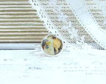 Yellow Bird Ring Victorian Bird Garden Ring Flower Bouquet Ring Yellow Bird Jewelry Adjustable Ring