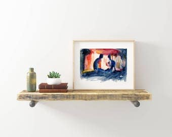 """Silhouette of Loving Gay Couple in Low Lit Room - Abstract Figures in Color - Love is Love - 8x10"""" Signed Art Print"""