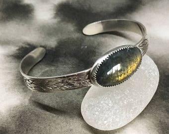 Fire Starter fiery orange labradorite and sterling silver handmade cuff bracelet, etched flame pattern, adjustable, elegant bohemian design