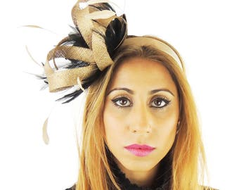 Gold & Black Fascinator Kentucky Derby or Wedding Hat **SAMPLE SALE