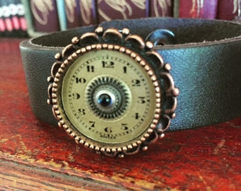 Steampunk Bracelet - Cuff - Repurposed art -Upcycled - Recycled - Leather