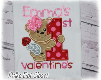 My First Valentines Cupid Bear personalized bodysuit valentine bodysuit