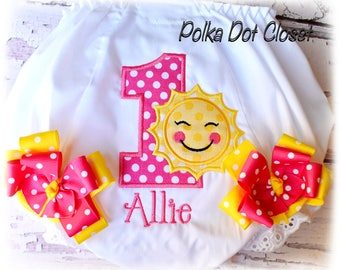 """Boutique Sunshine monogrammed bloomers with bows """"you are my sunshine"""" bloomers Diaper cover"""