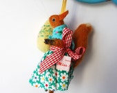 An Original Needle Felted  Easter Squirrel with Needle Felted Egg
