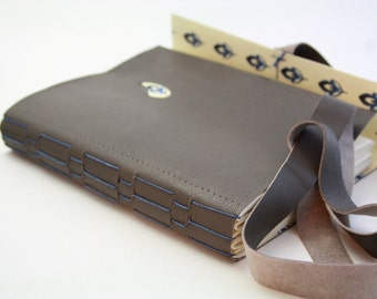 Leather Journal, Blue and Brown Travel Notebook