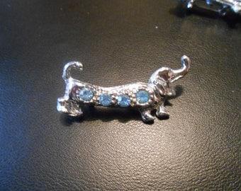 Vintage Silver Tone & light blue rhinestones Dachshund Doxie Wiener Beagle Hound Dog Brooch Pin Costume Jewelry