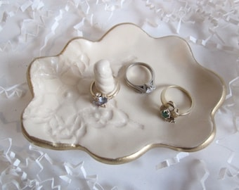 Ring holder, jewelry dish, Antique white with gold rim, jewelry storage, engagement gift