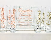 Family Blended Unity Sand Ceremony Glass Containers - Glass Block with Together we make a Family - Personalized - Side vessels - Coral Gold