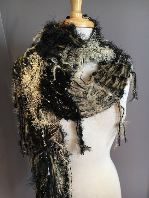 Fringed Funky soft fluffy knit Scarf, 'Calico', Fringed funky art Scarf in tans gold and black, scarves for women, fashion, boho, tribal