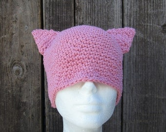 cotton pussy hat/ soft pink crochet