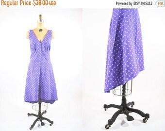 "50% OFF SALE // 1970s sundress | altered purple halter high low hem sundress | vintage 70s dress | W 30"""