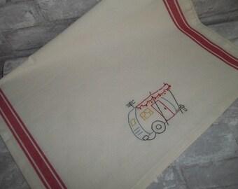 Travel Trailer Embroidered Dish Towel ~ Kitchen Towel ~ Tea Towel ~ Retro Kitchen Towel ~ Retro Canned Ham