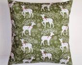 "Christmas Throw Pillow Cover, Deer & Snowflakes in Forest Throw Pillow Cover, Accent Pillow Cover, Festive Christmas Pillow, 16x16"" Square"