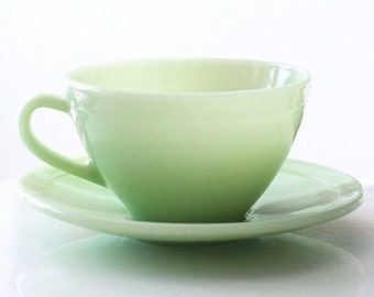 French Duralex Jadite Jadeite Teacup Cup and Saucer