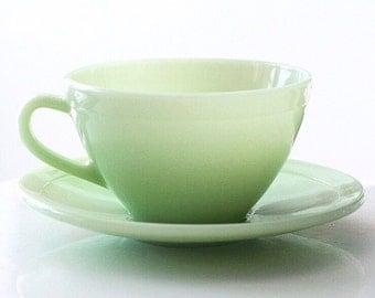 French Duralex Jadite Jadeite Teacup Cup and Saucer