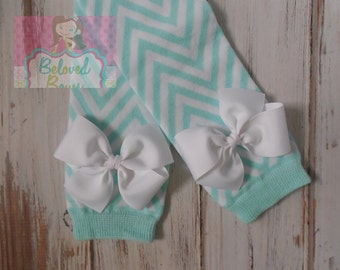 Mint and White Chevron Leg Warmers with White Bows for Baby Toddler Girl - Baby Girl Leg Warmers - Baby Shower Gift - Last Pair - On Sale