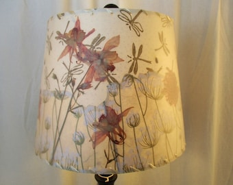 Pressed Flower Botanical Lamp Shade, Floral Paper Washer Top Drum Shade, Columbine and Queen Anne's Lace, Peach, Cream and Gold Lampshade