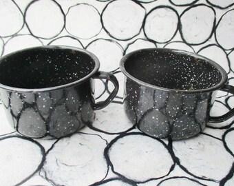 Black Enamelware Mugs, Pair of Enamel Cups, Vintage Black Metal Cup, Rustic Camp Kitchenware, Black Speckled Retro Drinking Cups, Camp Decor