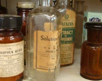 Antique 1920s Large Medical  Embossed Medicine Glass Bottle