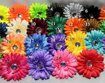 """SALE - Any 4 Gerber Daisy Flower Heads - 4"""" Gerbera Daisy Flowers - Rhinestone Crystal Center - Hair Flowers - Hair Bow Flower - Tutu Flower"""