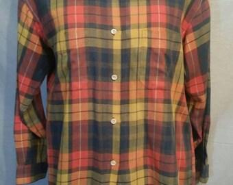 "Vintage shirt, blouse, ladies M 42"", plaid, long body, very soft"