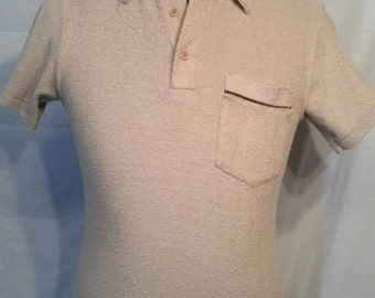 Vintage 70s terry polo mens beige