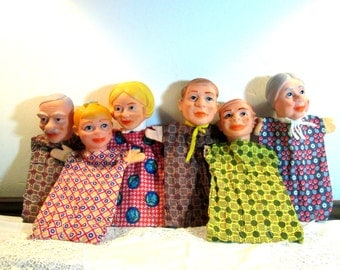 Antique Puppet Family/West Germany/Sheithauer/1950's Hand Puppets/Classic Toys/Educational