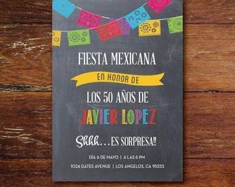Invitación a Fiesta de Cumpleaños Fiesta Mexicana, digital o impreso, Envío gratis (sólo para EE.UU.)