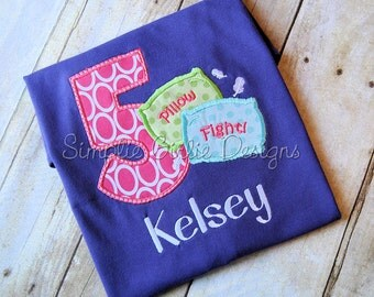 Pillow fight birthday shirt. Slumber party birthday shirt. Personalized. Sizes 12m to girl's XL. Can change colors and/or fabrics to suit.