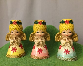 Angel Candle Holders Set of 3 Vintage Ceramic Pink Blue Yellow Christmas Holiday Decor Centerpiece Candlestick Holder