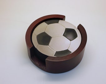 Soccer Sports Ball Coaster Set of 5 with Wood Holder