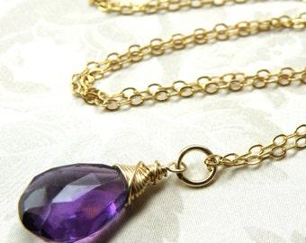 Amethyst Pendant, Gold Filled, Natural Amethyst Stone Necklace, Ultra Violet Pendant, Purple Jewelry, February Birthstone, Birthday Gift