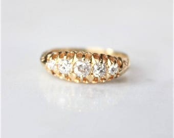 Antique Engagement Ring | 1908 Vintage Diamond 18k Yellow Gold Ring | Art Nouveau European Cut Ring | Wedding Band [The Sedgwick Ring]