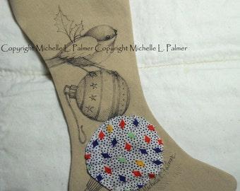 Original Pen Ink Illustration on Fabric Christmas Stocking by Michelle Palmer Chickadee Bird Holly Christmas Ornament Vintage Yoyo Circle