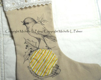 LARGE Original Pen Ink Illustration on Fabric Christmas Stocking by Michelle Palmer Robin Red Breast Winter Holly Vintage Yoyo