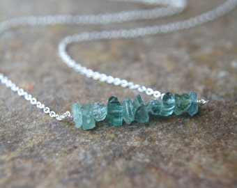 Indicolite Tourmaline Bar Necklace Gold or Silver Chain