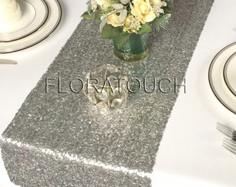 Silver Glitz Sequin Table Runner Wedding Table Runner - Limited stock