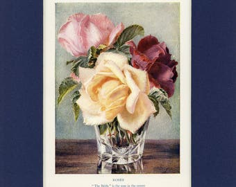 Vintage 1930's Roses Country Garden Print