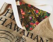Vintage Hawaiian Fabric/ Beach Bag/ Burlap Market Bag/ Hawaiian Coffee Sack Tote