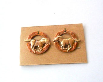 Artisan Running Horse Copper and Brass Earring or Charm Findings