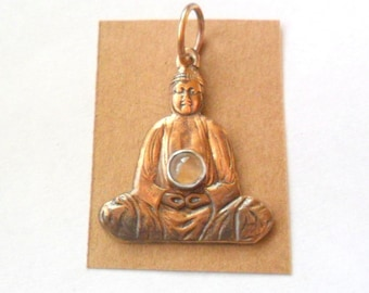 Buddha with Moonstone Brass Pendant Finding