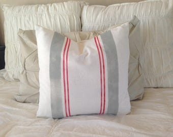French Grainsack Linen Pillow  Farmhouse/Coastal/Nautical/Beachy