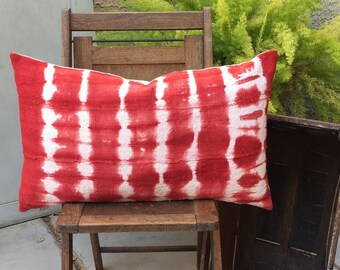 Authentic African Mudcloth Lumbar Pillow Cover Boho Red and White Batik  20 x 20 Farmhouse / Modern / Coastal Decor