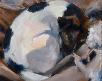 Sleeping White and Black, Brown, Jack Russell Terrier, Beige and White, Dog Sleeping, Original Painting by Clair Hartmann