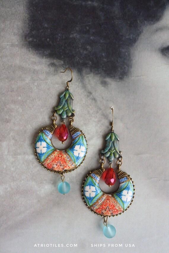 Portugal Antique Azulejo Tile Replica Earrings Verdigris -  Bohemian Persian Boho Chandelier Tribal Persian Gypsy Gypsy Ethnic