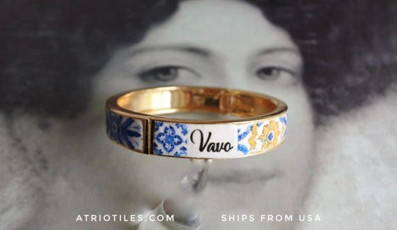 Vavo Grandmother BRACEleT - Mother's Day Portugal Antique 17th century Azulejo Tile Replicas - Blue Gold-  Ericeira  Gold Tone PRE ORDER