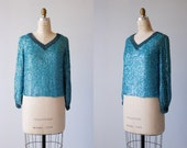 Vintage 1960s Sequin Top / 1960s Silk Sequin Blouse / Long Sleeve / Turquoise