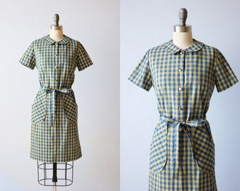 Vintage 1960s Royal Blue and Yellow Checker Print Dress / Shirtwaist Dress / Day Dress / Lady Bird Classic